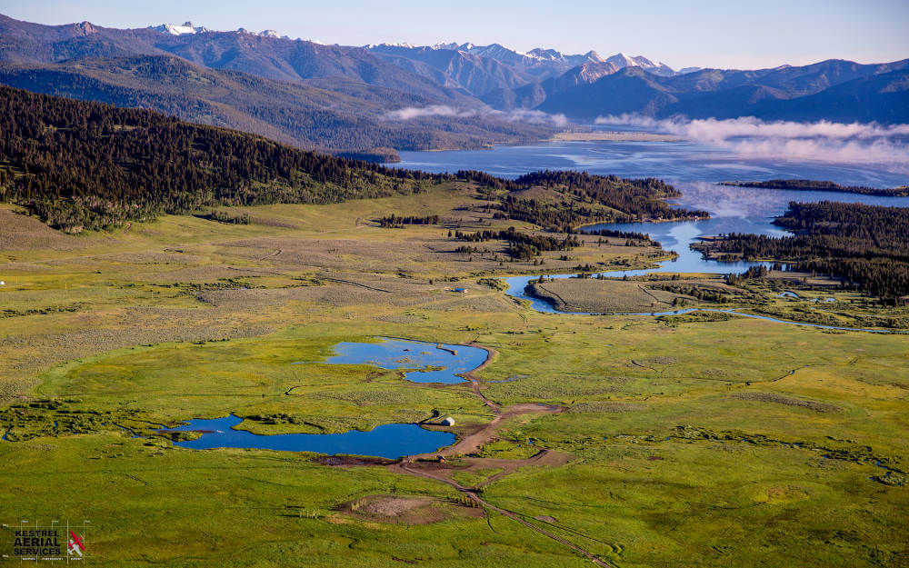 Aerial view of the Yellowstone Basin ranch in Montana